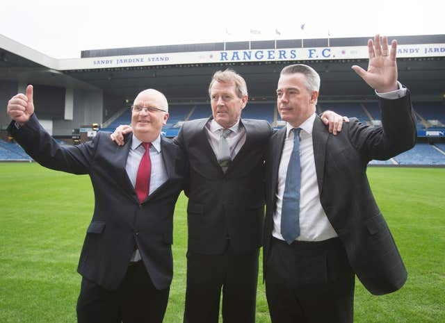 Dave King (centre), seixed control of Rangers along with allies John Gilligan and Paul Murray back in 2015