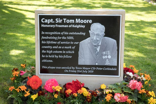 A plaque unveiled in honour of Captain Sir Tom Moore