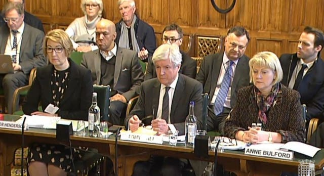 Lord Hall giving evidence to the Public Accounts Select Committee at the House of Commons