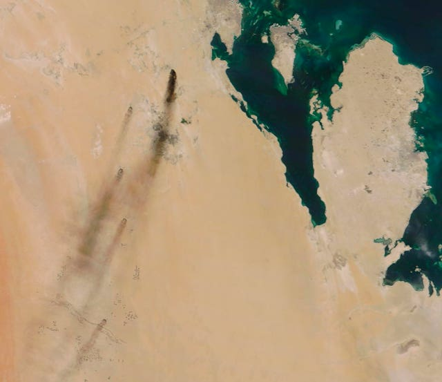 Satellite image of fires after the attacks