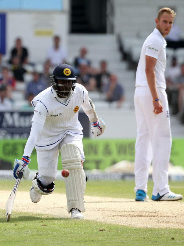 Angelo Mathews (Left) will be glad to see the back of Stuart Broad (right).