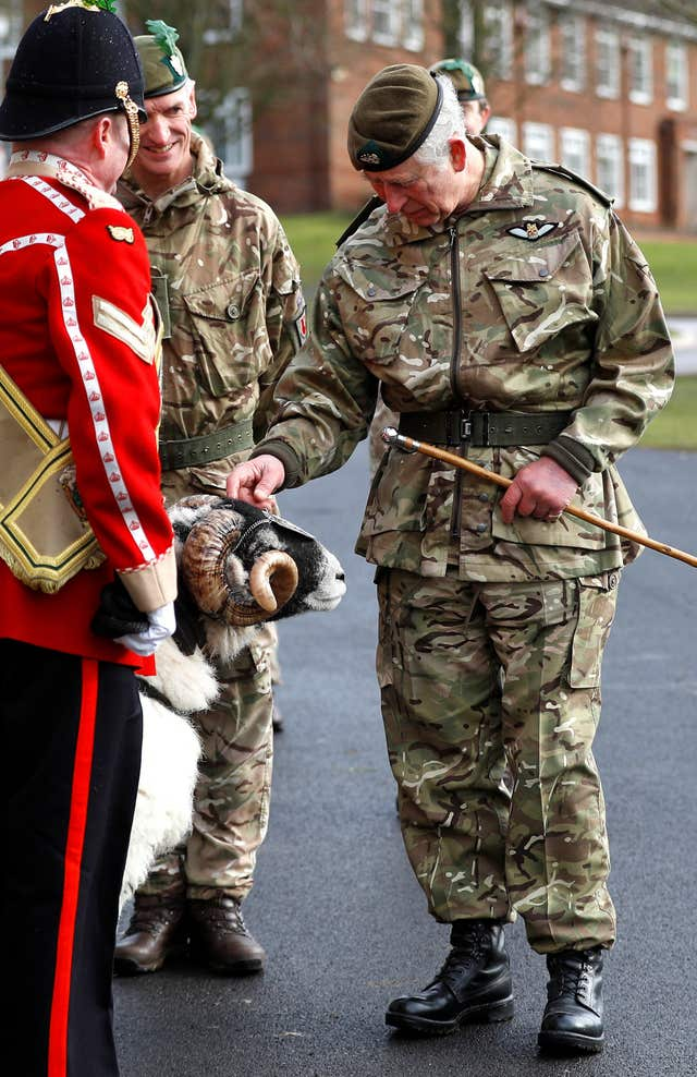The Prince of Wales meets the Mercian Regiment's mascot, a ram called Private Derby XXXII, at Bulford Camp in Wiltshire. (Peter Nicholls/PA)