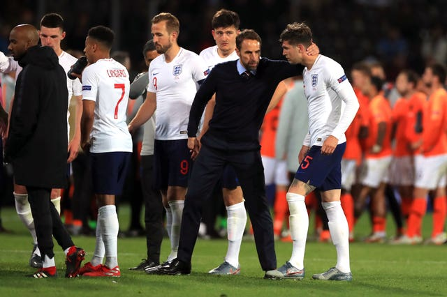 Gareth Southgate consoles his players