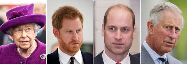 File photos of (left to right) the Queen, Harry, William and Charles who are due to meet at Sandringham for crisis talks about the future role of the Sussexes. PA Wire/PA Images