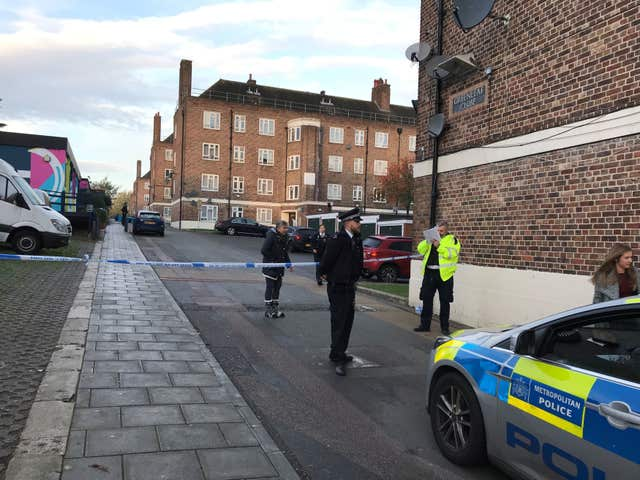 Police at the scene in Greenleaf Close, Tulse Hill