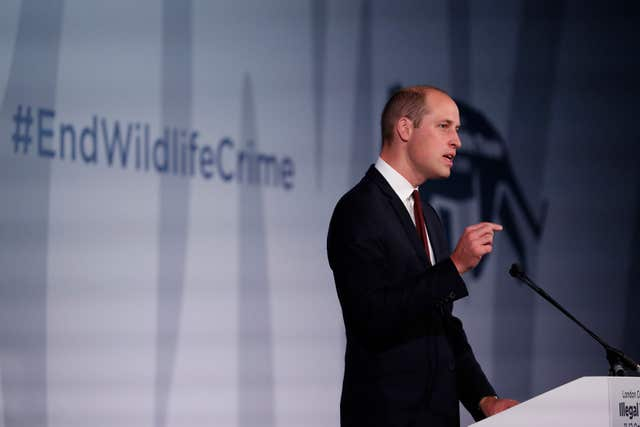The Duke of Cambridge has been outspoken on the issue of wildlife crime such as ivory poaching (Alastair Grant/PA)