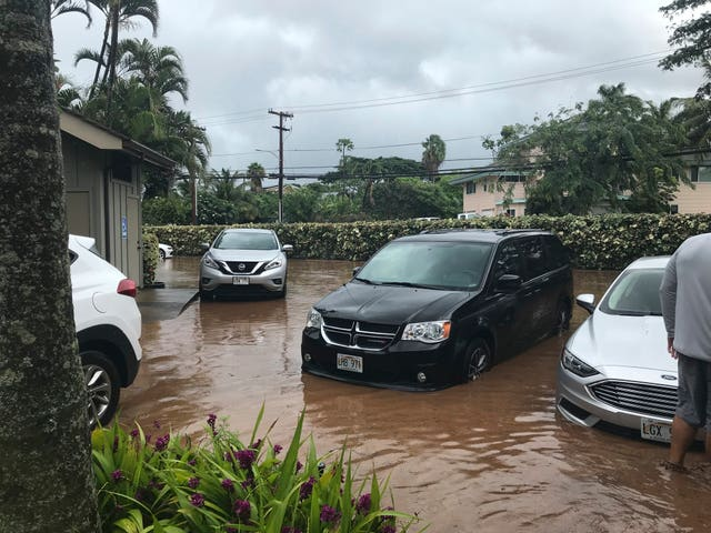 Floodwater in a car park in Lahaina