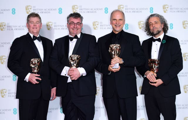 Richard R Hoover, Gerd Nefzer, John Nelson and Paul Lambert won the special visual effects Bafta for Blade Runner 2049 (Ian West/PA)