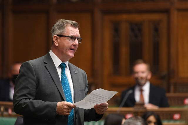 Sir Jeffrey Donaldson during Prime Minister's Questions at the House of Commons, London