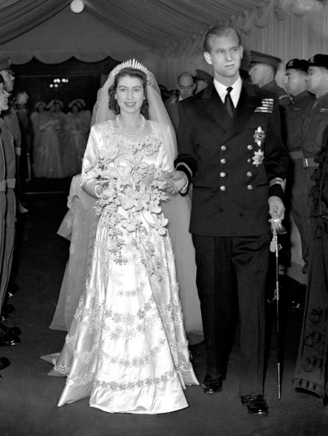 The Duke of Edinburgh, pictured on his wedding day, November 20, 1947 with the then Princess Elizabeth, is from the generation which traditionally did not wear wedding rings (PA)