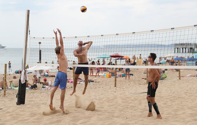 Volleyball on Boscombe beach