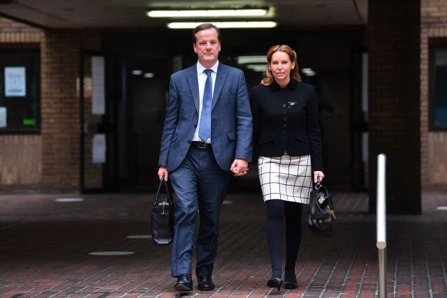 Former Conservative MP Charlie Elphicke, with MP for Dover Natalie Elphicke, leaving Southwark Crown Court