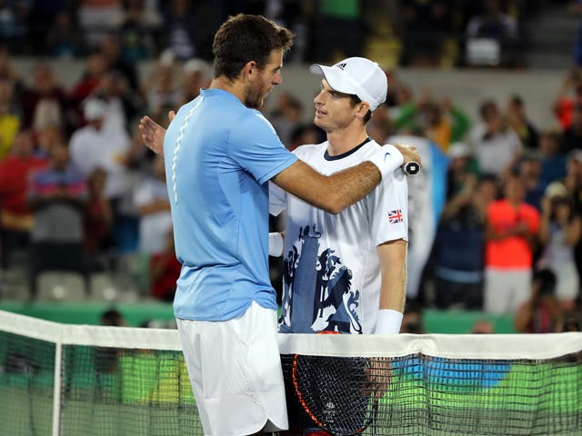 Andy Murray (right) beat Juan Martin del Potro in an epic Olympic final