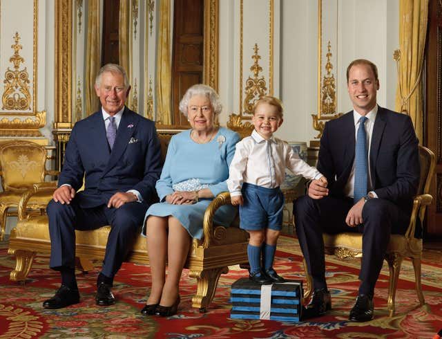 The Queen, Prince of Wales, Duke of Cambridge and Prince George