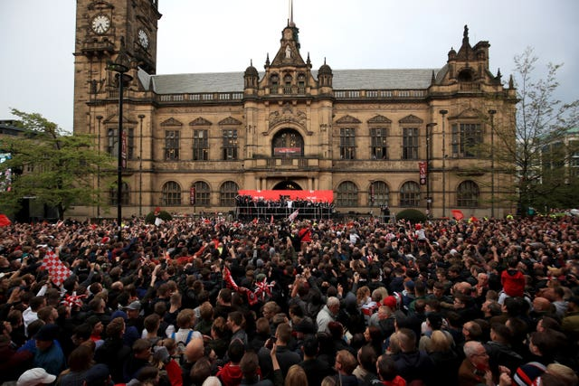 Thousands of Sheffield United fans turned out for the parade