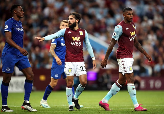 Aston Villa's Jota, centre, had an impressive game