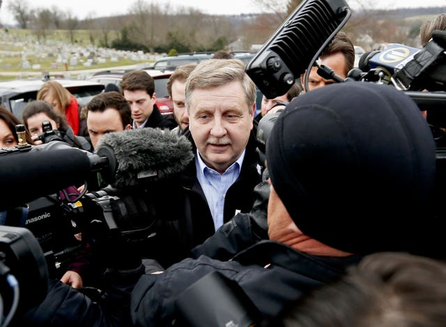 Republican Rick Saccone heading to cast his vote in McKeesport (AP Photo/Keith Srakocic)