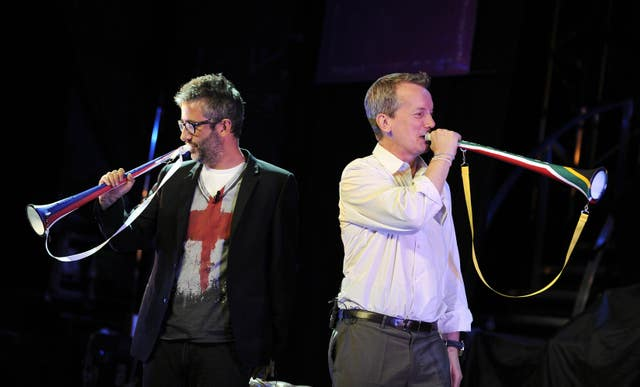 David Baddiel (left) and Frank Skinner on stage