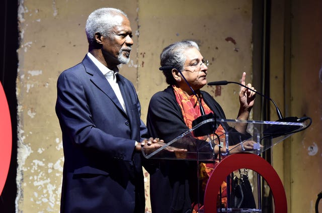 Kofi Annan (left) and Hina Jilani on stage speaking to the London crowd (Matt Crossick/PA)