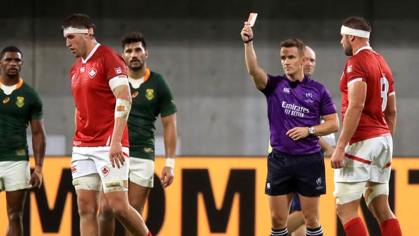 Canada player visits South Africa changing room to apologise for red card