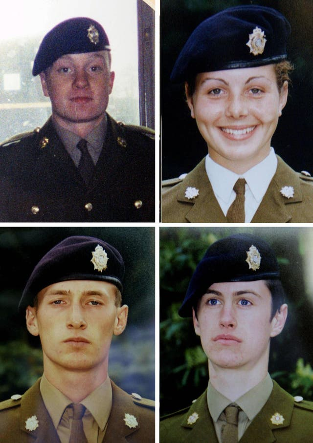 Pte James Collinson, Pte Cheryl James, Pte Sean Benton and Pte Geoff Gray