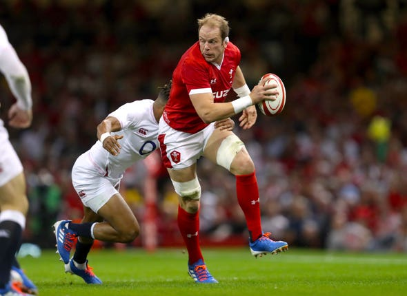 Alun Wyn Jones, right, will equal Gethin Jenkins' record on Monday