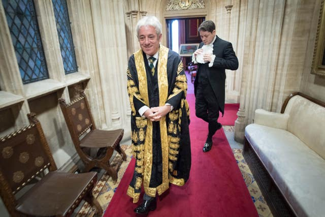 John Bercow preparing for the Queen's Speech before processing through the Palace of Westminster to the House of Lords