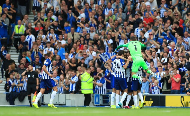 Brighton players celebrated wildly after Leandro Trossard scored but it was ruled out by VAR