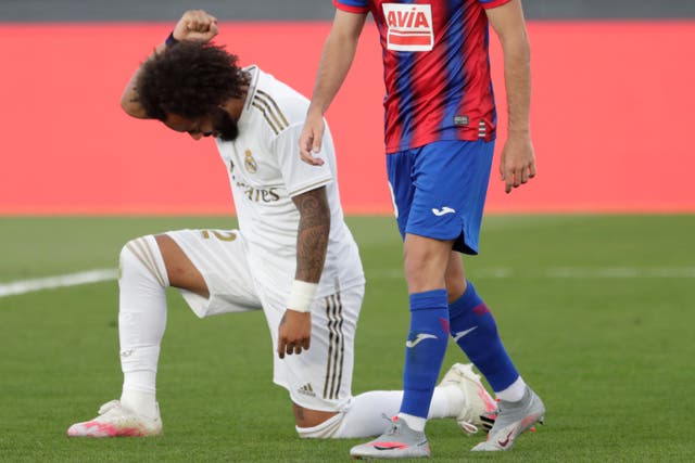 Marcelo kneeled after scoring for Real Madrid on Sunday
