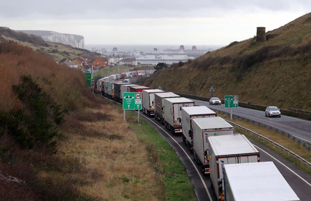 Lorries queue for the Port of Dover