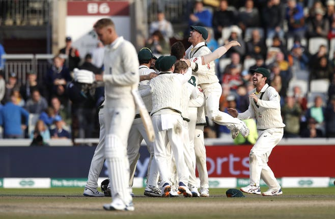 Australia won by 185 runs at Old Trafford