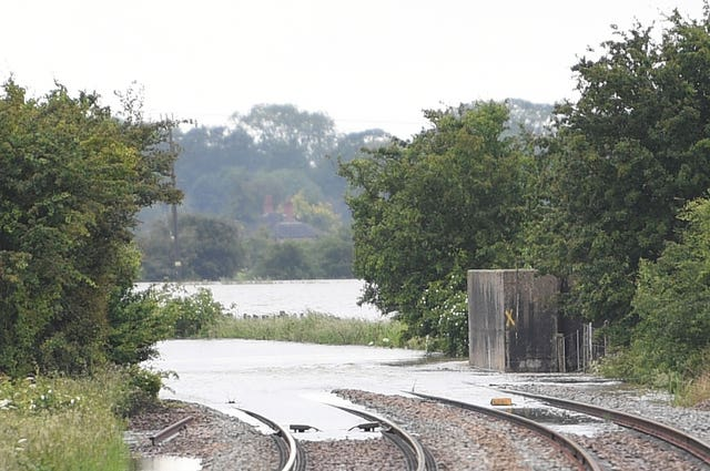 A flooded railway line in Thorpe Culvert, Lincolnshire, where more than two months of rain fell in just two days