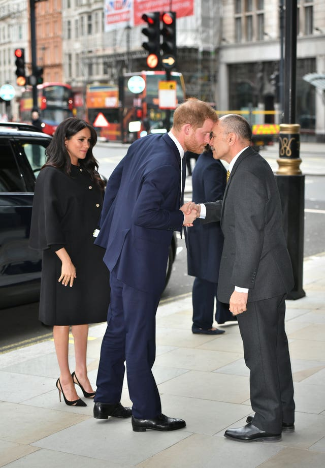 The Duke of Sussex receives a hongi from the High Commissioner of New Zealand Jerry Mateparae to the United Kingdom as he arrives with the Duchess of Sussex at New Zealand House in London