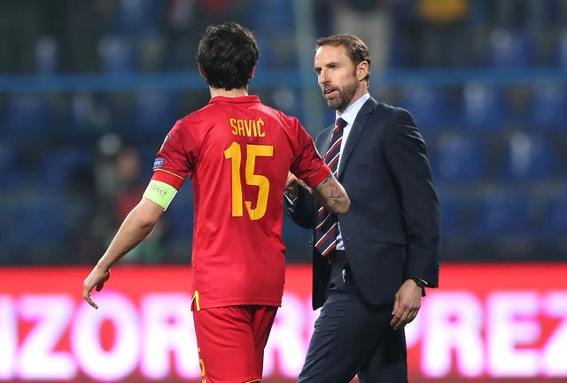 Southgate was forced to answer questions on racism after the match in Montenegro