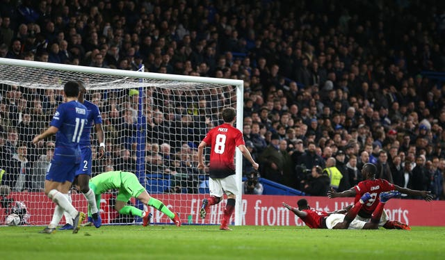 Paul Pogba scores Manchester United's second goal at Chelsea