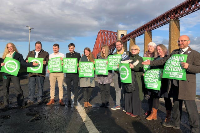 Co-leaders Lorna Slater (left) and Patrick Harvie (right) with candidates at the launch of the Scottish Green General Election campaign in South Queensferry near Edinburgh