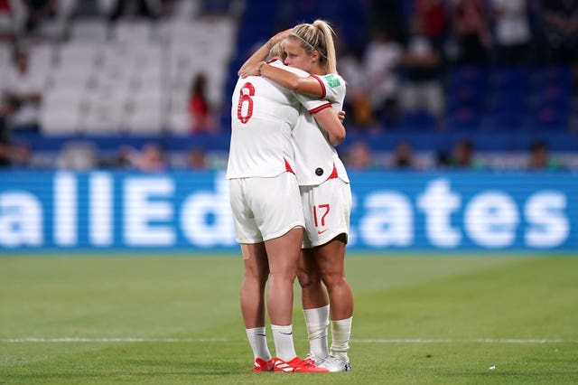 Rachel Daly consoles Bright after the match