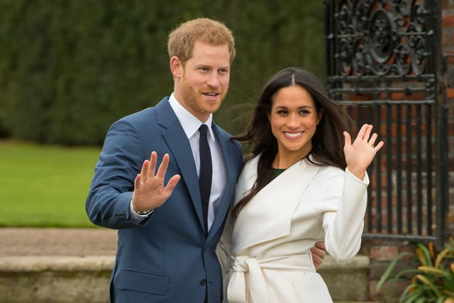 Prince Harry and Meghan Markle at the their engagement photocall (Dominic Lipinski/PA)