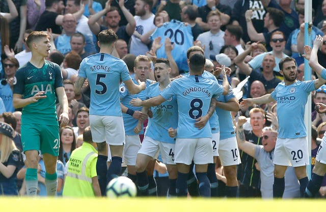 Phil Foden (centre) scored the only goal against Spurs