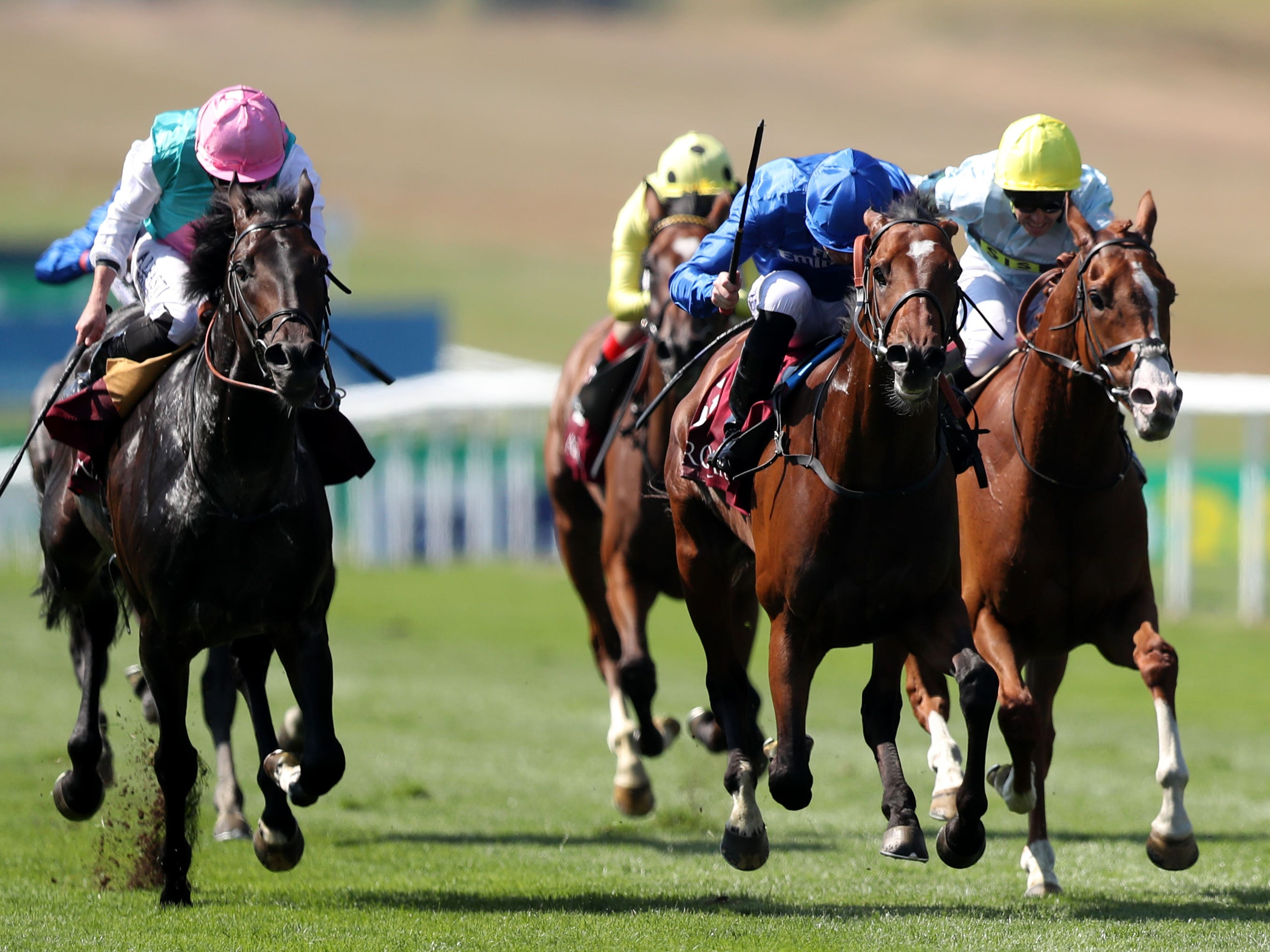 Best Solution (centre) sees off Mirage Dancer in the Princess of Wales's Stakes (Simon Cooper/PA)