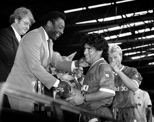 Pele (left) and Maradona (right) - pictured together at the Football League's Centenary Classic at Wembley in 1987 - are widely considered the greatest two players of all time