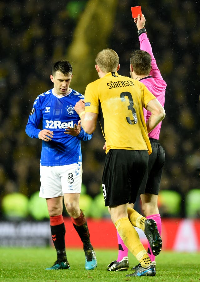 Ryan Jack was sent off at the death