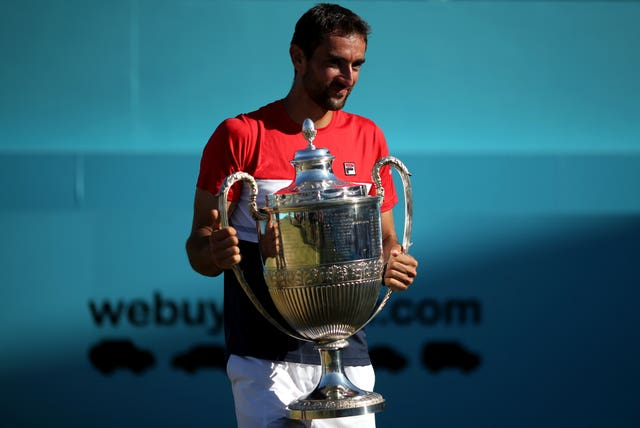 Croatia's Marin Cilic with the 2018 Fever-Tree Championship trophy (PA)