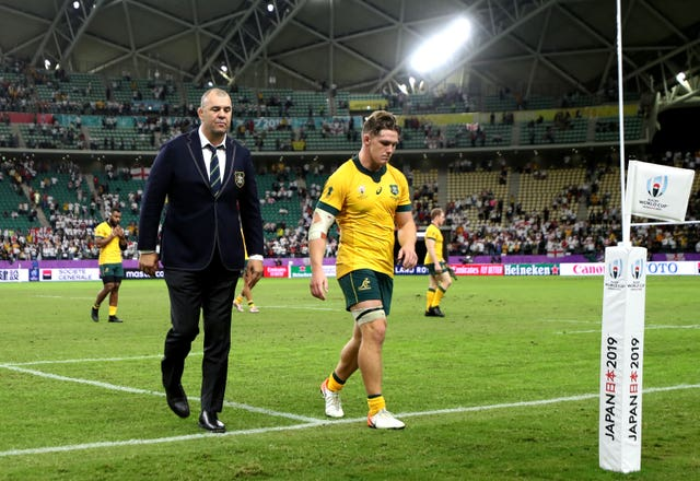 But for Australia coach Michael Cheika (left) and Michael Hooper, the World Cup is over