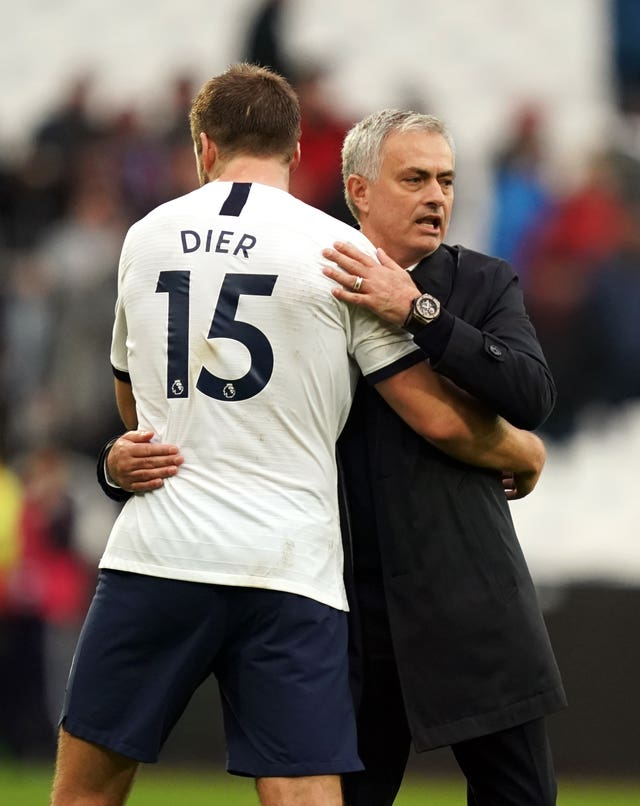 Jose Mourinho, right, embraces Eric Dier after Spurs' win at West Ham in November