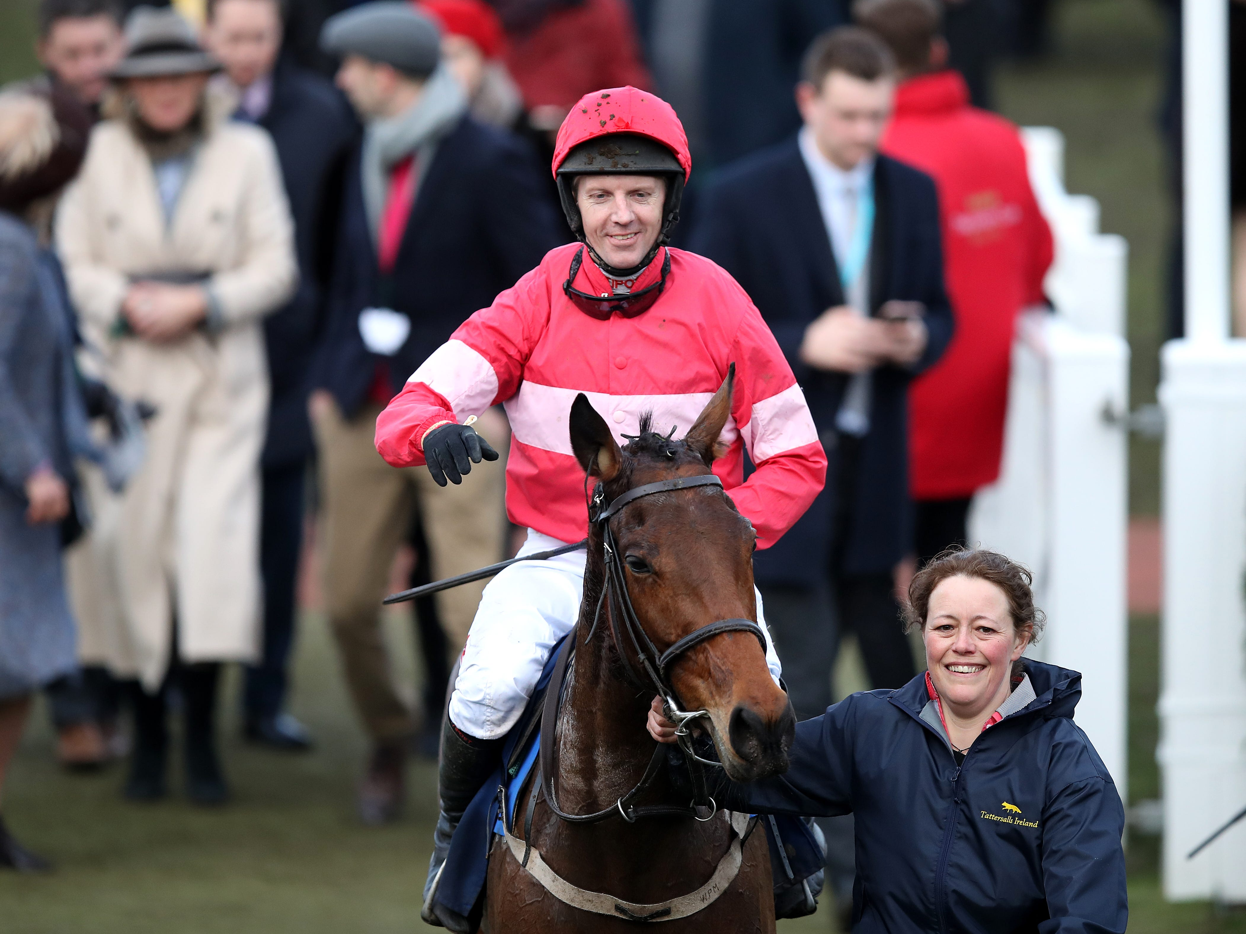 Noel Fehily celebrates on Eglantine Du Seuil after winning the National Hunt Breeders Supported By Tattersalls Mares' Novices' Hurdle during St Patrick's Thursday of the 2019 Cheltenham Festival at Cheltenham Racecourse.