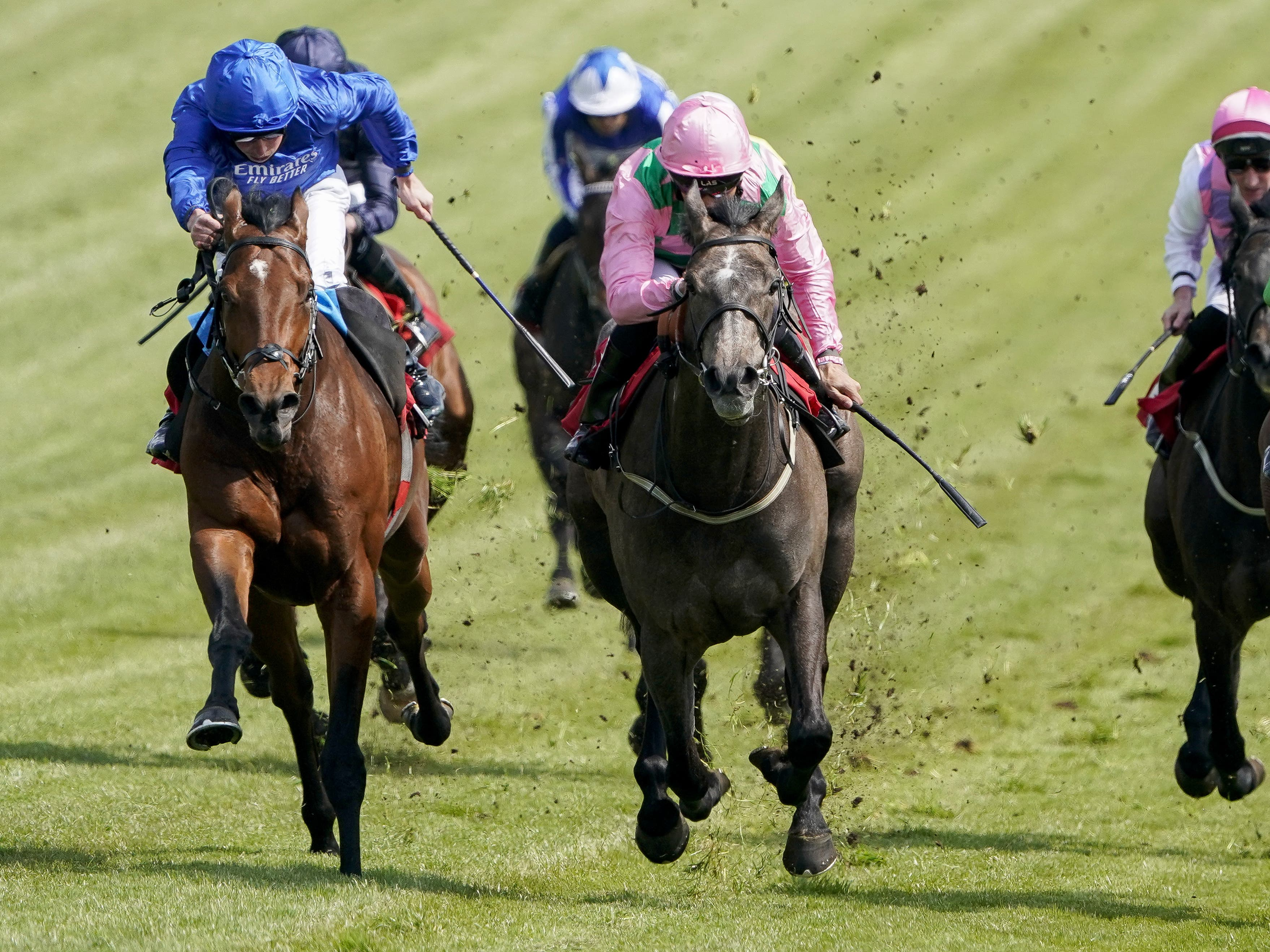 Wirko (left) coming to win the Blue Riband Trial at Epsom (Alan Crowhurst/PA)