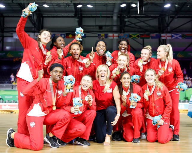 Tracey Neville, centre, led England to Commonwealth Games netball gold