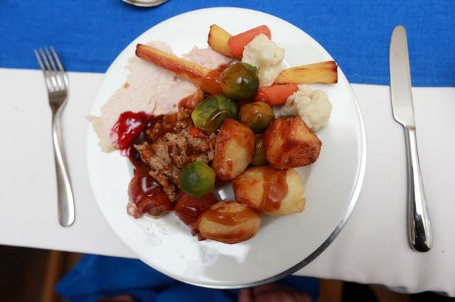 A view of a traditional Christmas dinner on Christmas Day (David Davies/PA)