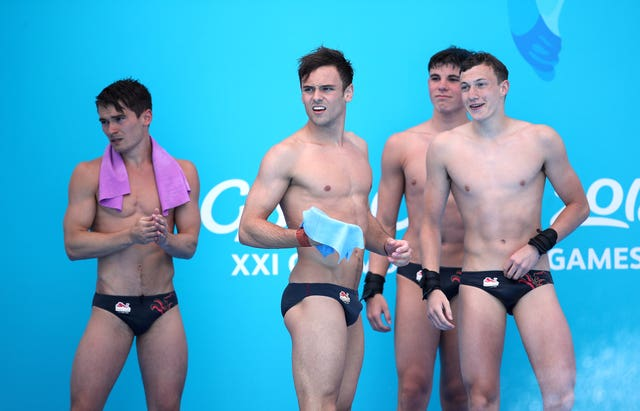 Tom Daley, second left, and Dan Goodfellow, left, won gold ahead of England team-mates Matthew Dixon and Noah Williams, right